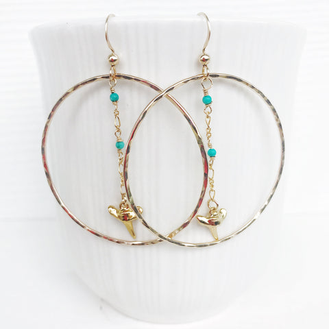 Turquoise shark tooth hoop earrings