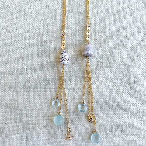 Beach charm long necklace