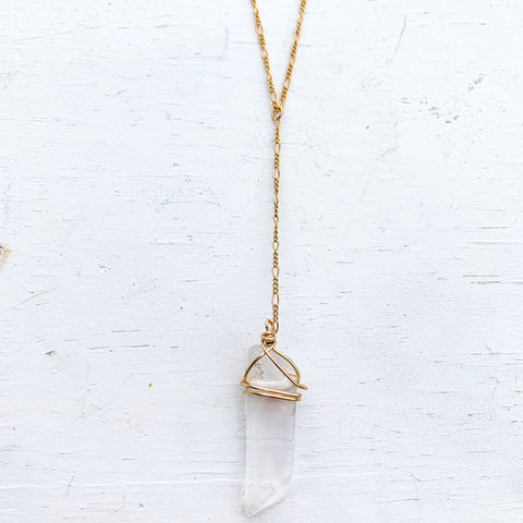 Raw crystal quartz lariat necklace