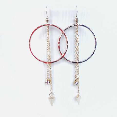 CZ charm hoop earrings