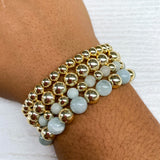 Gold hematite and Aqua marine mix stretch bracelet