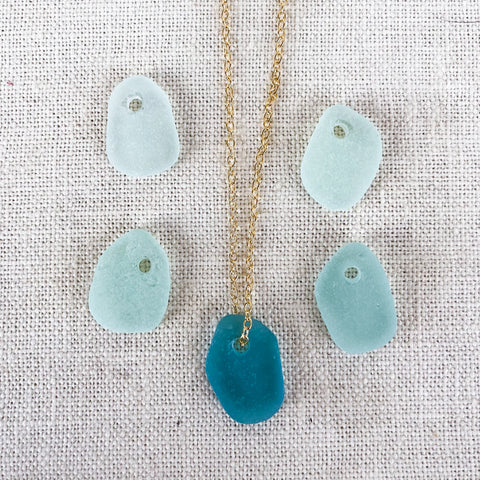 Floating Hawaiian sea glass necklace