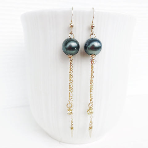 Tahitian pearl CZ dangle earrings