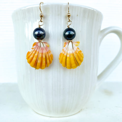 Sunrise shell Tahitian pearl drop earrings