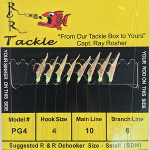 R&R SABIKI - 8 HOOKS WITH FISH SKIN & GREEN HEADS