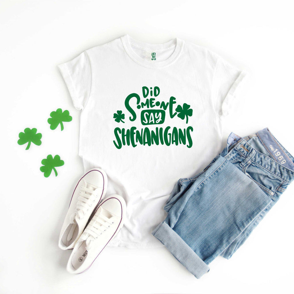 Did Someone say Shenanigans St Patrick's Day White Clover Adult Unisex Tee