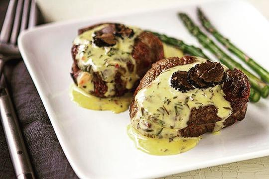 Pan Seared Filet with Sauce Béarnaise and Shaved Black Truffles