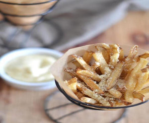 Parmesan Truffle Fries with Roasted Garlic Truffle Mayo