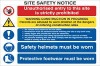 Site Safety Notice - Unauthorised Entry is Prohibited Sign (Irish), Self Adhesive Vinyl, 1mm PVC, 5mm Correx Board