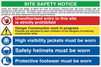 Site Safety Notice - Unauthorised Entry is Prohibited Sign, Self Adhesive Vinyl, 1mm PVC, 5mm Correx Board