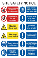 Site Safety Notice Sign, Self Adhesive Vinyl, 1mm PVC, 5mm Correx Board