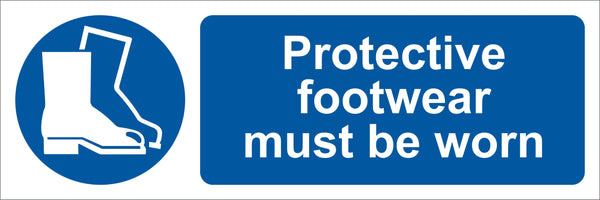 Protective footwear must be worn Sign, Self Adhesive Vinyl, 1mm PVC, 5mm Correx Board