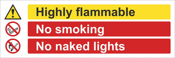 Highly Flammable Sign, Self Adhesive Vinyl, 1mm PVC, 5mm Correx Board