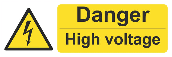Danger high voltage Sign, Self Adhesive Vinyl, 1mm PVC, 5mm Correx Board
