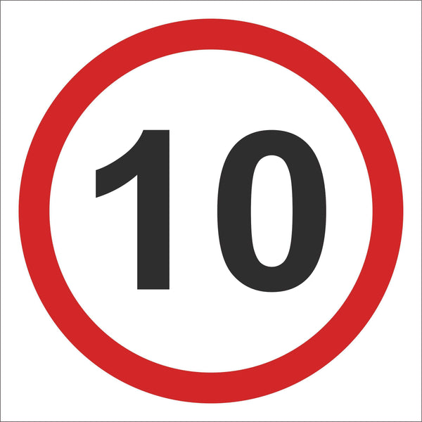Speed sign 10 Sign, Self Adhesive Vinyl, 1mm PVC, 5mm Correx Board