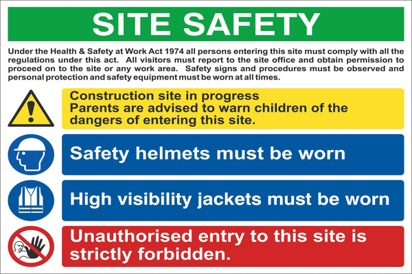 Site Safety Sign, Self Adhesive Vinyl, 1mm PVC, 5mm Correx Board