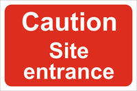 Caution Site entrance Sign, Self Adhesive Vinyl, 1mm PVC, 5mm Correx Board