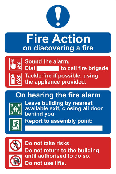 Fire action sign 1 Sign, Self Adhesive Vinyl, 1mm PVC, 5mm Correx Board