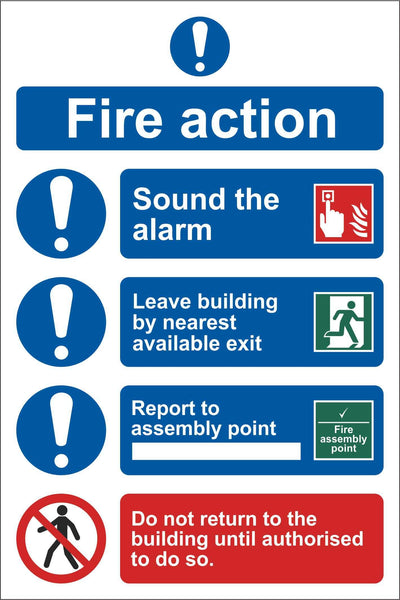 Fire action sign 2 Sign, Self Adhesive Vinyl, 1mm PVC, 5mm Correx Board