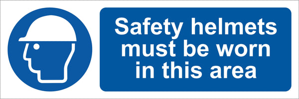 Safety helmets must be worn in this area Sign, Self Adhesive Vinyl, 1mm PVC, 5mm Correx Board