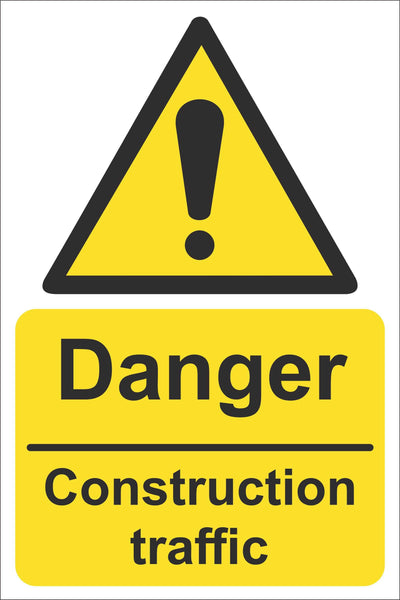 Danger construction traffic Sign, Self Adhesive Vinyl, 1mm PVC, 5mm Correx Board
