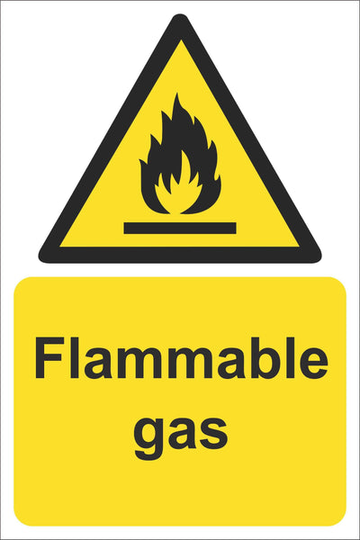 Flammable gas Sign, Self Adhesive Vinyl, 1mm PVC, 5mm Correx Board