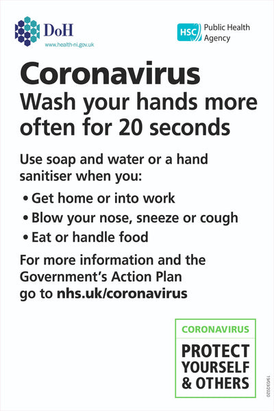 Covid-19 Coronavirus Wash Your Hands Sign, Self Adhesive Vinyl, 1mm PVC, 5mm Correx Board