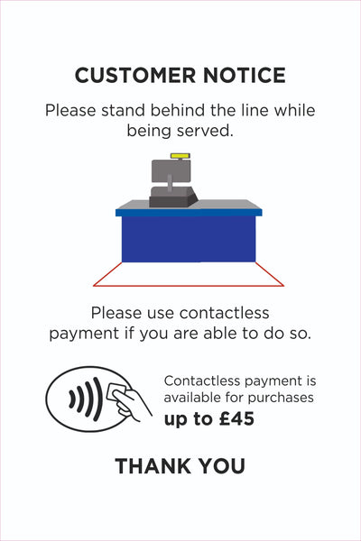 Covid-19 Coronavirus Customer tills Sign, Self Adhesive Vinyl, 1mm PVC, 5mm Correx Board