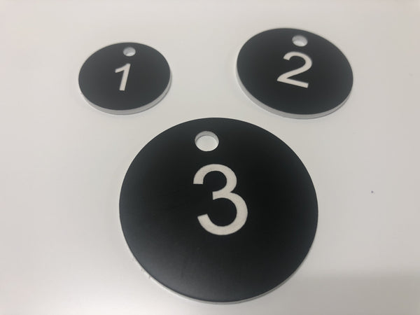 Engraved Acrylic Discs, BLACK with WHITE TEXT, Multiple Sizes and Options