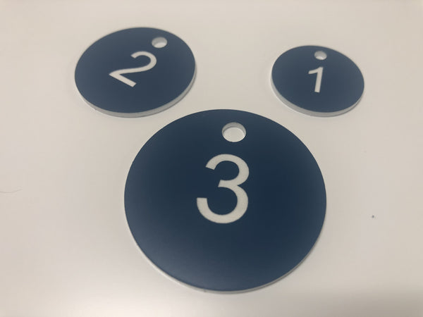 Engraved Acrylic Discs, BLUE with WHITE TEXT, Multiple Sizes and Options