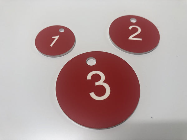 Engraved Acrylic Discs, RED with WHITE TEXT, Multiple Sizes and Options