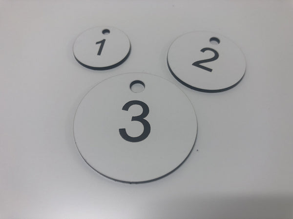 Engraved Acrylic Discs, WHITE with BLACK TEXT, Multiple Sizes and Options
