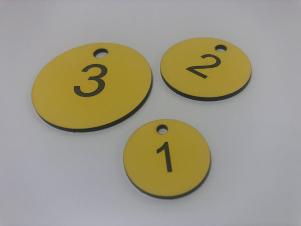 Engraved Acrylic Discs, YELLOW with BLACK TEXT, Multiple Sizes and Options