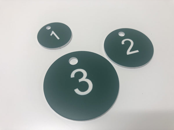 Engraved Acrylic Discs, GREEN with WHITE TEXT, Multiple Sizes and Options
