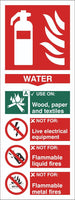 Fire Extinguisher Water Sign, Self Adhesive Vinyl, 1mm PVC, 5mm Correx Board