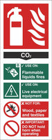 Fire Extinguisher C02 Sign, Self Adhesive Vinyl, 1mm PVC, 5mm Correx Board