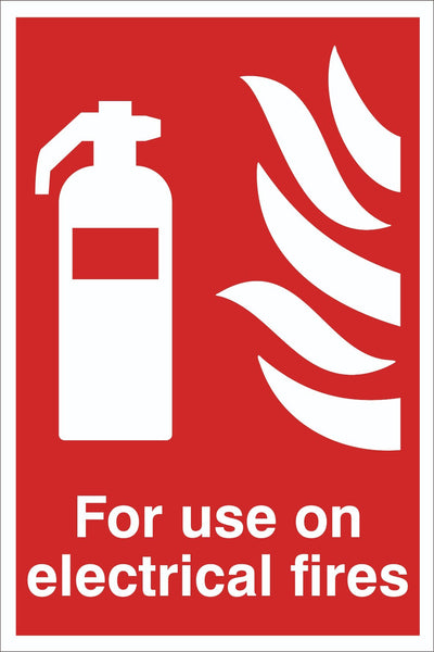 For Use on electrical fires Sign, Self Adhesive Vinyl, 1mm PVC, 5mm Correx Board