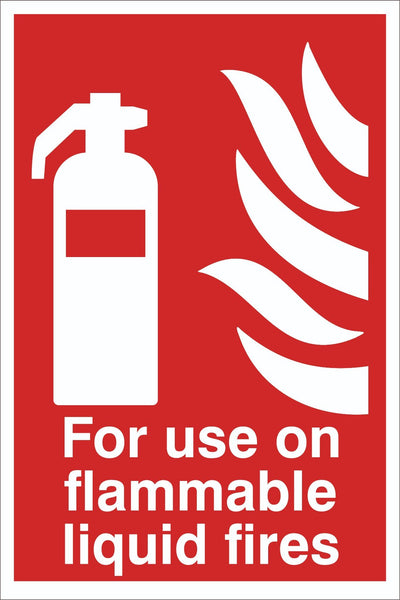 For Use on flammable liquid fires Sign, Self Adhesive Vinyl, 1mm PVC 5mm Correx