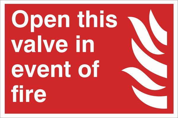 Open this Valve Sign, Self Adhesive Vinyl, 1mm PVC, 5mm Correx Board