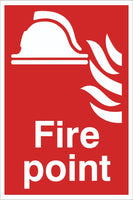 Fire point Sign, Self Adhesive Vinyl, 1mm PVC, 5mm Correx Board