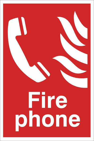 Fire Phone Sign, Self Adhesive Vinyl, 1mm PVC, 5mm Correx Board