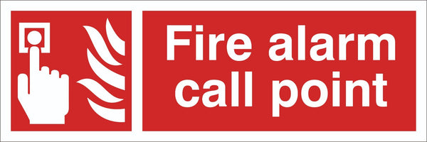 Fire Alarm call point Sign, Self Adhesive Vinyl, 1mm PVC, 5mm Correx Board