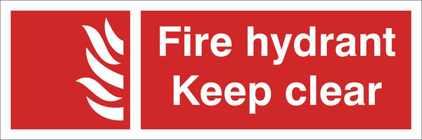 Fire Hydrant Keep Clear Sign, Self Adhesive Vinyl, 1mm PVC, 5mm Correx Board