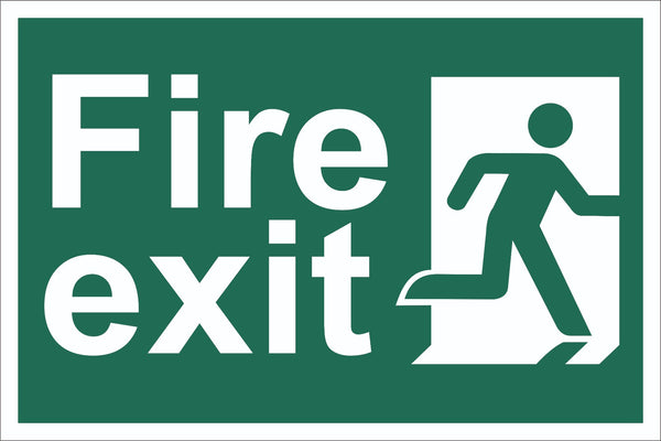 Fire Exit Running Man Sign, Self Adhesive Vinyl, 1mm PVC, 5mm Correx Board