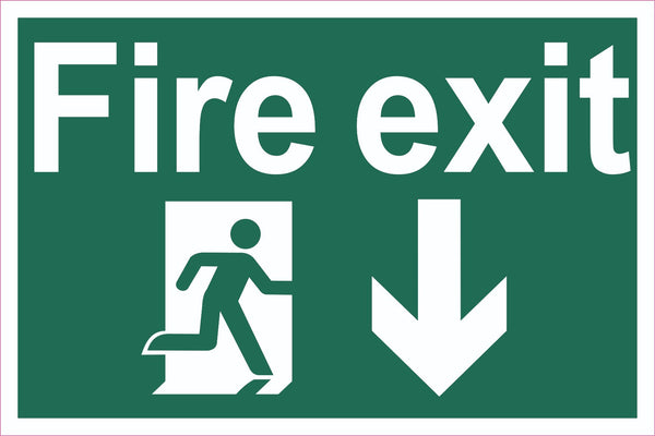 Fire Exit Running Man Down Arrow Sign, Self Adhesive Vinyl, 5mm Correx Board
