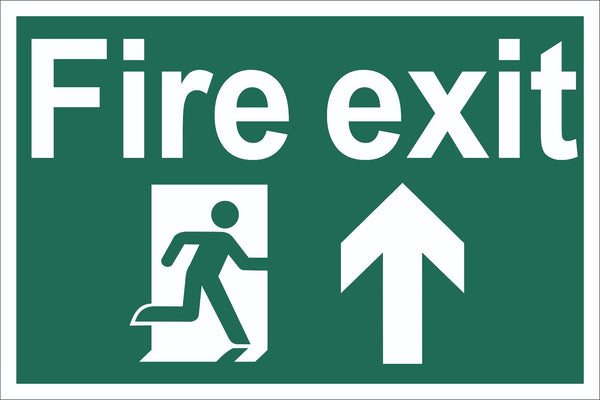 Fire Exit Running Man Up Arrow Sign, Self Adhesive Vinyl, 5mm Correx Board