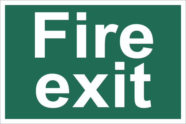 Fire Exit Sign, Self Adhesive Vinyl, 1mm PVC, 5mm Correx Board