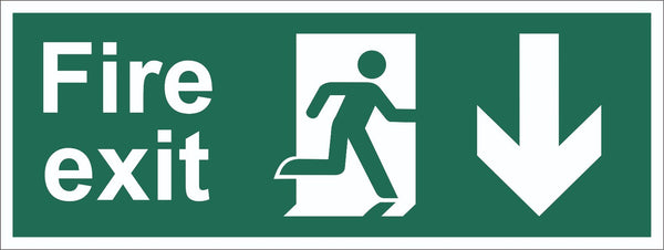 Fire Exit Running Man Arrow Down Sign, Self Adhesive Vinyl, 5mm Correx Board