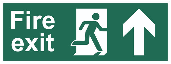Fire Exit Running Man Arrow Up Sign, Self Adhesive Vinyl, 5mm Correx Board