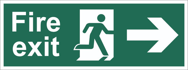 Fire Exit Running Man Arrow Right Sign, Self Adhesive Vinyl, 5mm Correx Board